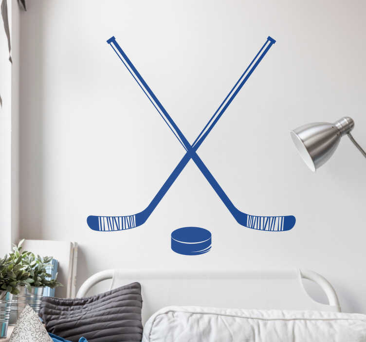 TenStickers. Hockey Sticks and Puck Home Wall Sticker. If you love hockey as much as you love decorating your home in a hockey themed way; this sports sticker is the one for you! Sign up for 10% off.