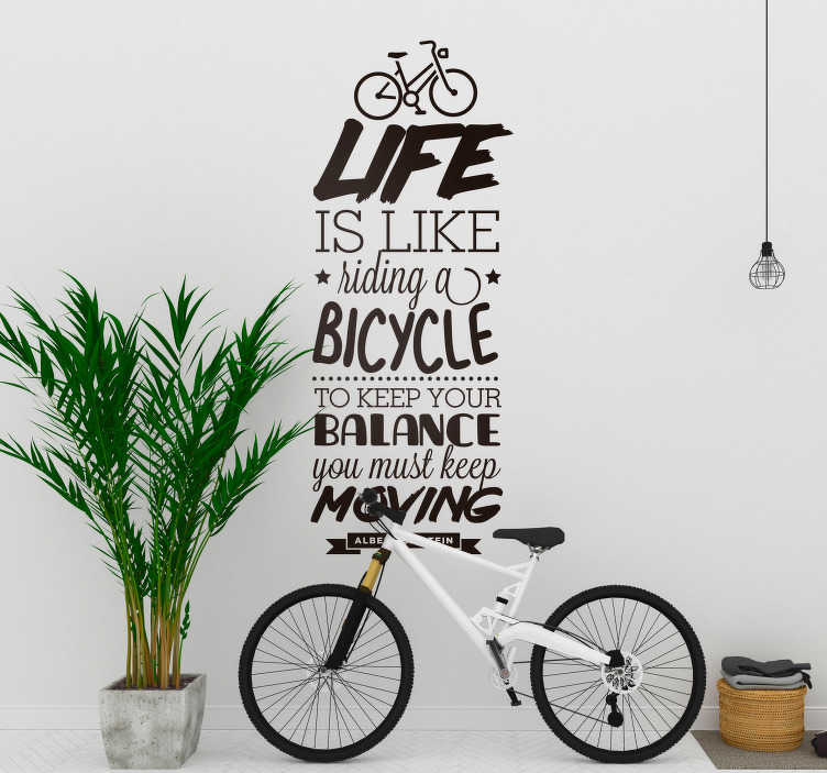 TenStickers. Life is like a Bicycle Text Sticker. Draw the similarities between cycling and life with this ever-relevant cycling themed sports art sticker! Discounts available.