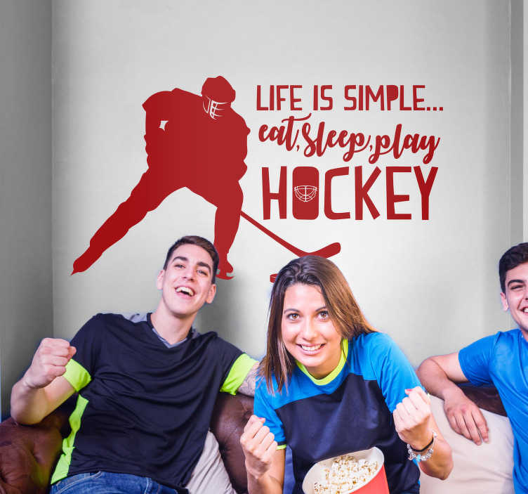 TenStickers. Simply Hockey Life Text Sticker. Hockey lovers! Decorate your home with this fantastic monocolour sports art sticker, showing your love for hockey! Easy to apply.
