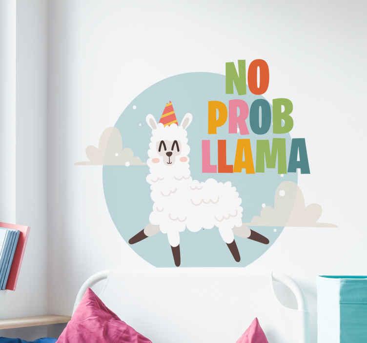 TenStickers. Sticker Maison Dessin Lama. Les lamas sont à la mode en ce moment. Profitez-en pour décorer votre intérieur avec ce sticker d'animal parfait pour une chambre d'enfant !