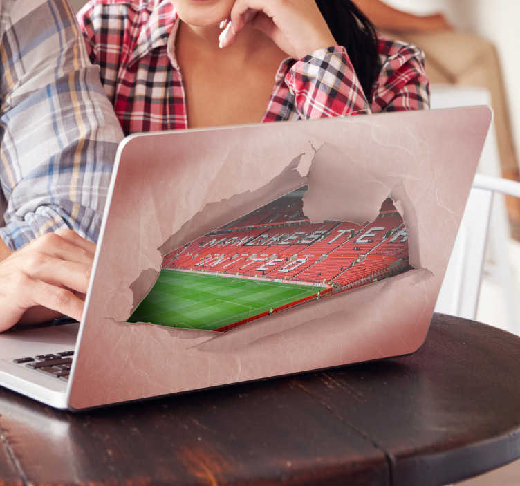 TenStickers. Old Trafford Laptop Sticker. Decorate your laptop with this stunning special effects style sticker, paying tribute to the stunning stadium that is Old Trafford! Anti-bubble vinyl.