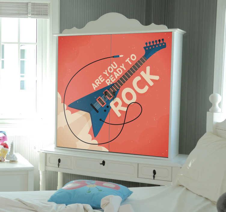 TenStickers. Meubelstickers Rock gitaar. Stoere rock muursticker voor in de woonkamer! Deze rock sticker is ideaal als rock meubelsticker. De gitaar muursticker is een origineel ontwerp!