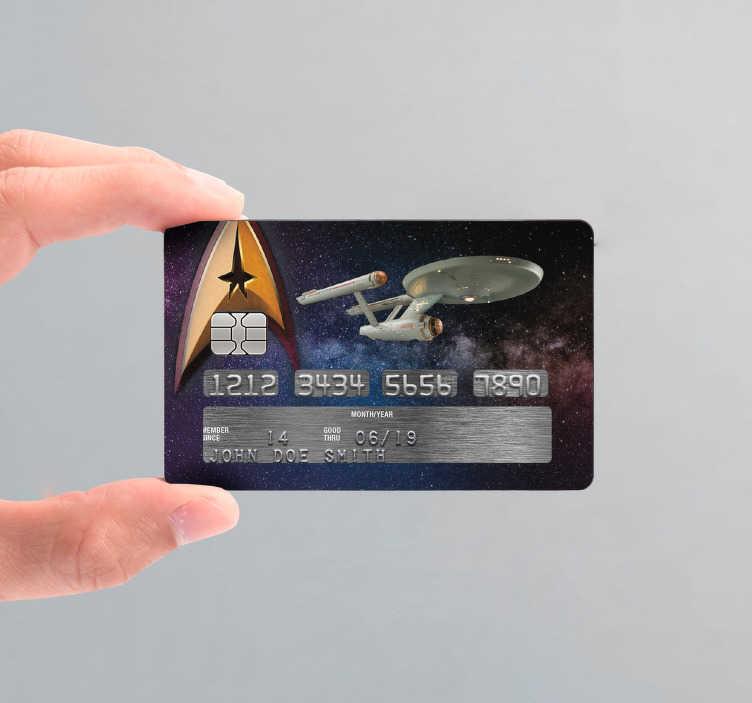 TenStickers. Sticker Carte Bancaire Carte Crédit Star Trek. Vous êtes un véritable cinéphile dans l'âme et en plus vous aimez la pop-culture ? Ce sticker thème cinéma sera idéal pour votre carte bancaire !