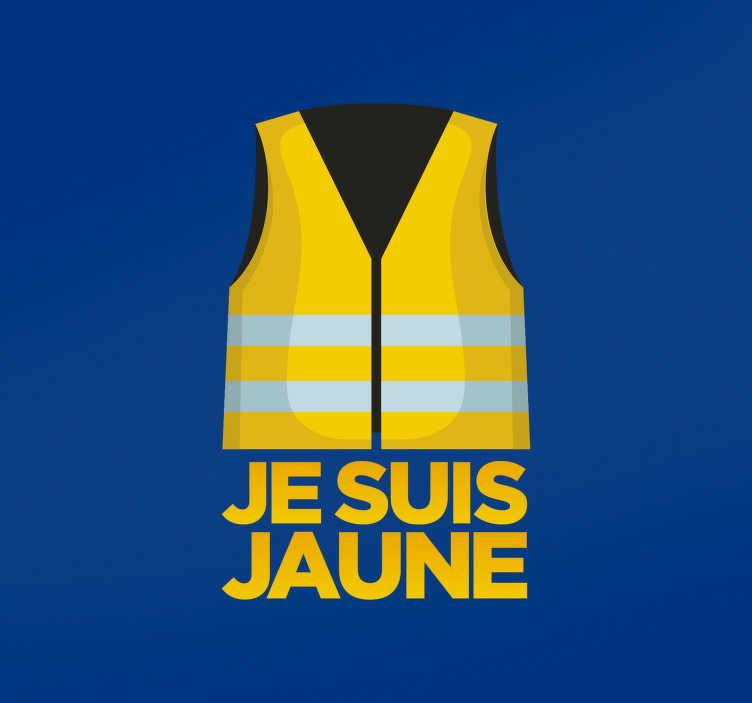 TenStickers. Sticker Voiture Gilet Jaune. Cet autocollant voiture destiné aux plus engagés représente un gilet jaune, symbole du mouvement éponyme en France et partout dans le monde