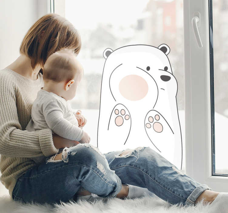 TenStickers. Vitrophanie Dessin Ours Polaire. Ce sticker chambre enfant pour les fenêtres lui donnera chaque jour le sourire, grâce au design de ce petit ours maladroit