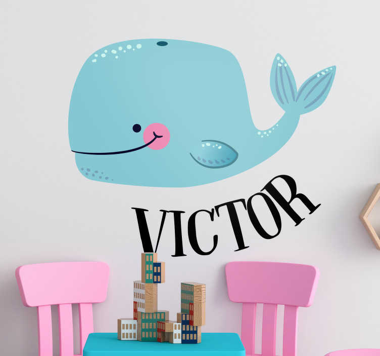 TenStickers. Sticker Poisson Petite Baleine. Envie d'apporter une touche d'originalité et de douceur à la chambre de votre enfant ? Cette adorable baleine bleue souriante vous fera convaincra !