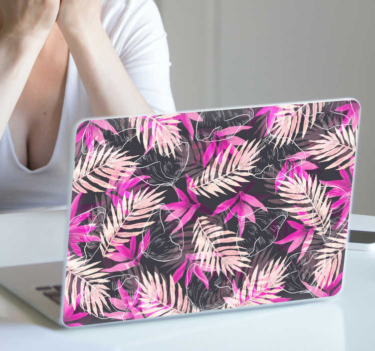 TenStickers. 多彩植物笔记本电脑皮. 多彩的笔记本电脑贴纸和有吸引力的植物笔记本电脑贴纸:时尚和开朗的笔记本电脑贴纸和紫色的笔
