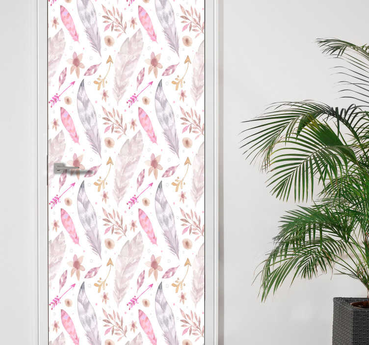 TenStickers. 粉红色的羽毛门贴纸. 门卫羽毛,一个奇妙的想法!这款羽毛wallsticker有漂亮的颜色。羽毛贴纸非常适合门!粉红色的wallstickers!