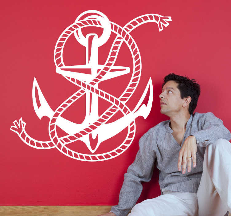 TenStickers. Naklejka dekoracyjna kotwica. Naklejka dekoracyjna z morskim emblematem, klasyczną kotwicą.