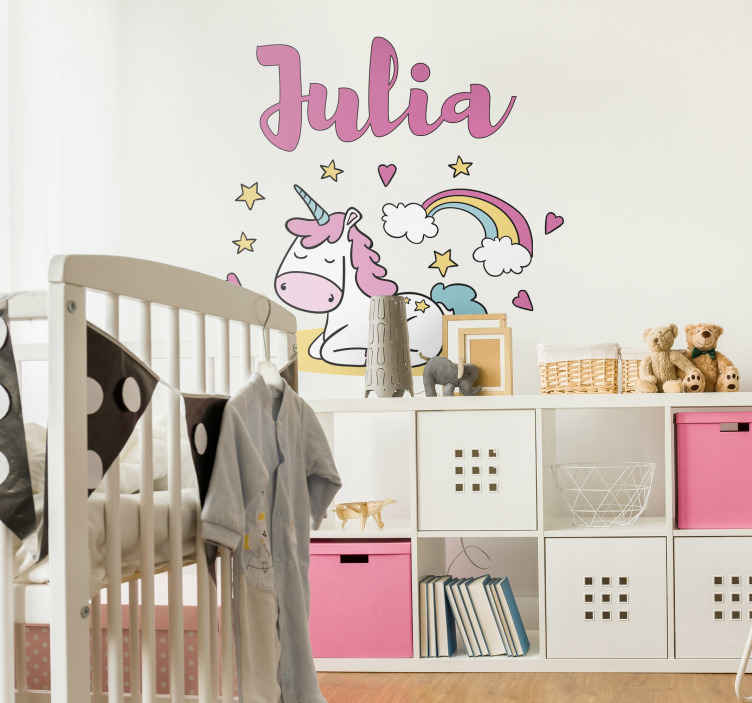 TenStickers. Sleeping Unicorn Customisable Wall Sticker. Add some gorgeous unicorn themed decor to your home with this absolutely stunning customisable animal sticker! Available in 50 colours.