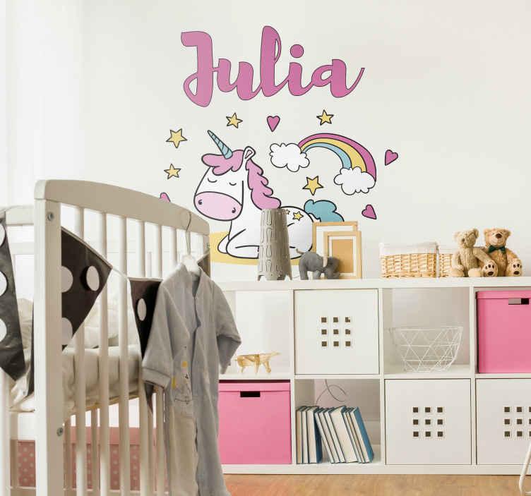 TenStickers. Sticker Illustration Licorne Endormie. Pour décorer la chambre de votre enfant de façon adorable, quoi de mieux que ce sticker mural chambre enfant au design de licorne endormie