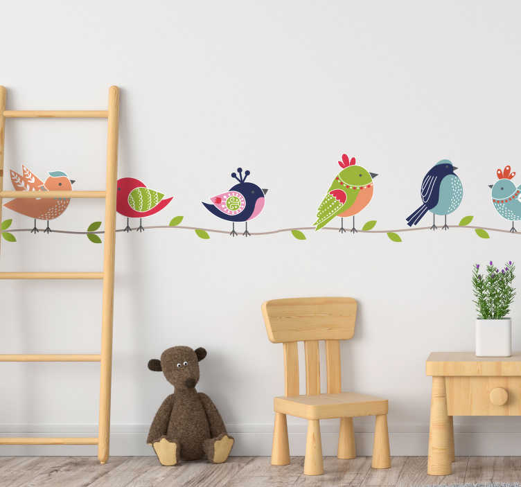 TenStickers. 다채로운 조류 동물 벽 스티커. 벽 스티커 새, 쾌활하고 재미있는 벽 스티커 보육 또는 wallsticker babyroom 그리고 완전하게! 새 벽 스티커, 모든 크기에서 사용할 수 있습니다!