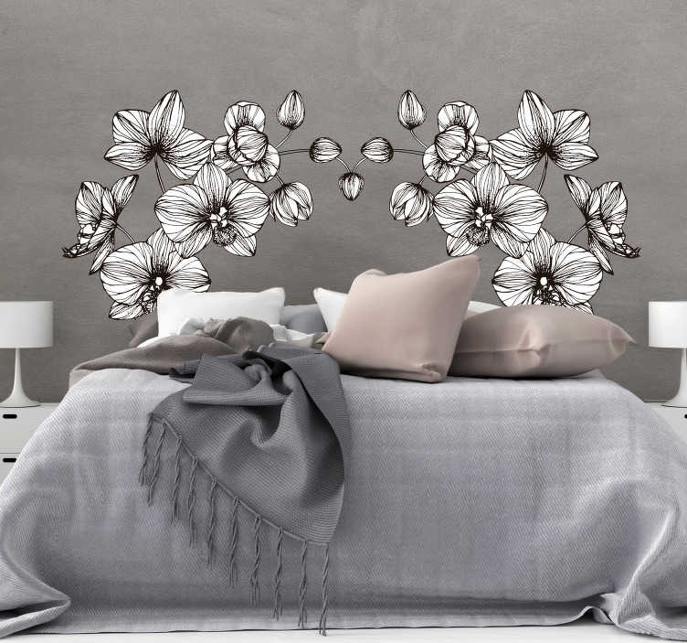 TenStickers. 현대 꽃 홈 벽 스티커. 침실에 아름 다운 현대 꽃 벽 스티커. 벽 스티커 꽃은 현대적이고 어떤 적당한 크기의 흰 꽃 벽 스티커입니다!