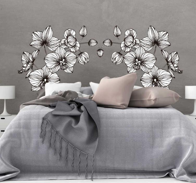 TenStickers. 卧室的现代花墙贴纸. 一个现代的花墙贴在卧室里很漂亮。墙贴花是现代和任何合适尺寸的白色花墙贴!