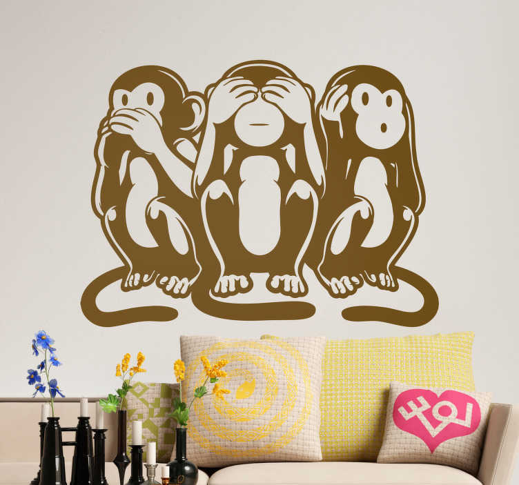 """TenStickers. Sticker Maison Singes de la sagesse. Les """"singes de la sagesse"""" de cet autocollant dessin au style art déco ont un air facétieux qui fera craquer vos invités !"""