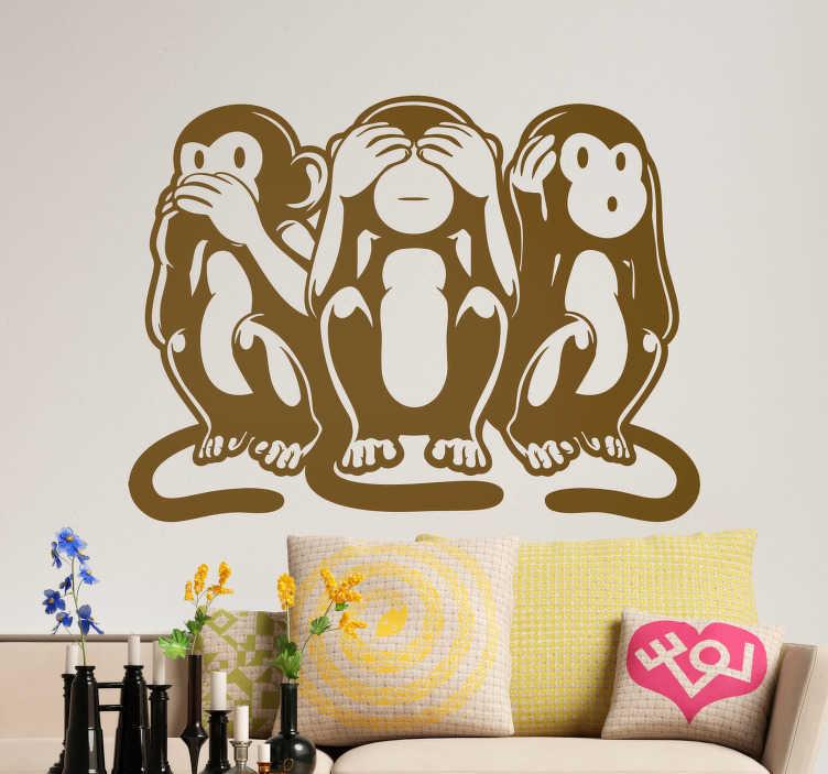 TenStickers. 智慧猴子动物墙贴纸. 卧室或客厅的可爱智慧猴子贴纸。猴子墙贴是一种超级流行的动物墙贴!猴子的贴纸!