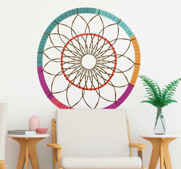 TenStickers. Sticker Abstrait Mandala Boho style. Envie de décorer ses murs d'un sticker mural abstrait ? Cet autocollant mural dessin de mandala style boho vous ravira !