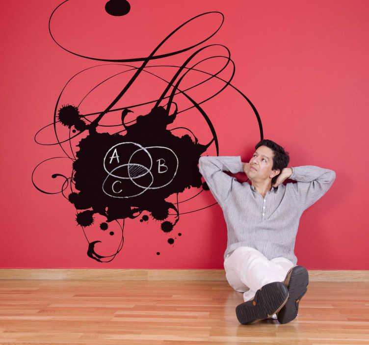 TenStickers. Muusticker krijtbord inkt elegant. Deze muursticker van een krijtbord met inktvlekken en prachtige elegante lijnen. Originele muurdecoratie voor uw woning.