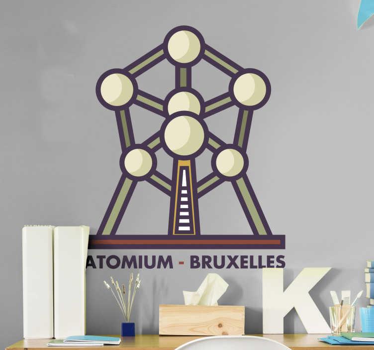 TenStickers. Muurdecoratie stickers Atomium Brussel. Atomium muursticker en Brussel muursticker:  De Brussel muursticker of Brussel sticker is geschikt voor de woonkamer en slaapkamer Belgie muurdecoratie