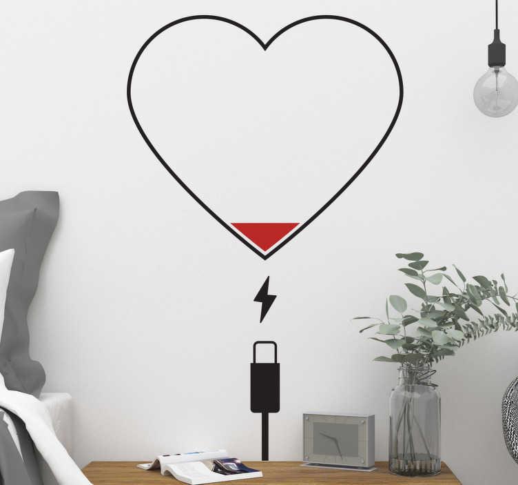 TenStickers. 心充电器爱贴纸. 墙贴心。这款墙贴充电器,适用于窗户。这个有趣的墙贴心脏是咖啡馆的理想选择。 orginional墙贴心!