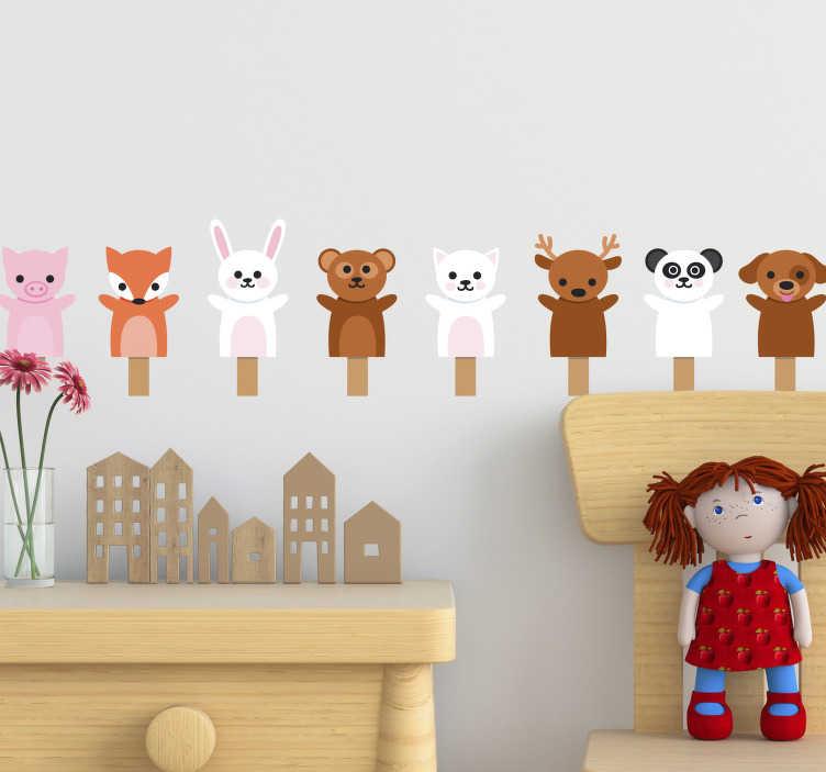 TenStickers. 可爱的动物拥抱玩具家居墙贴. 墙贴可爱的动物拥抱,超级可爱和甜蜜的托儿所室内。墙贴可爱兔子为婴儿房动物墙贴!