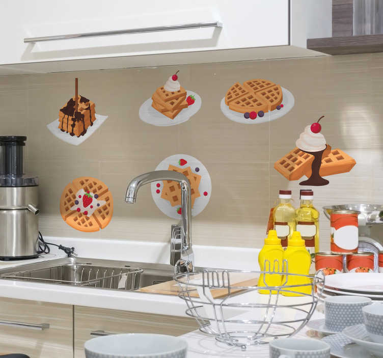 TenStickers. Sticker Maison Dessins petites gauffres. Un autocollant gastronomique pour les enfants et les adultes Ces petites gauffres seront parfaites pour cuisine, salon ou même entreprise