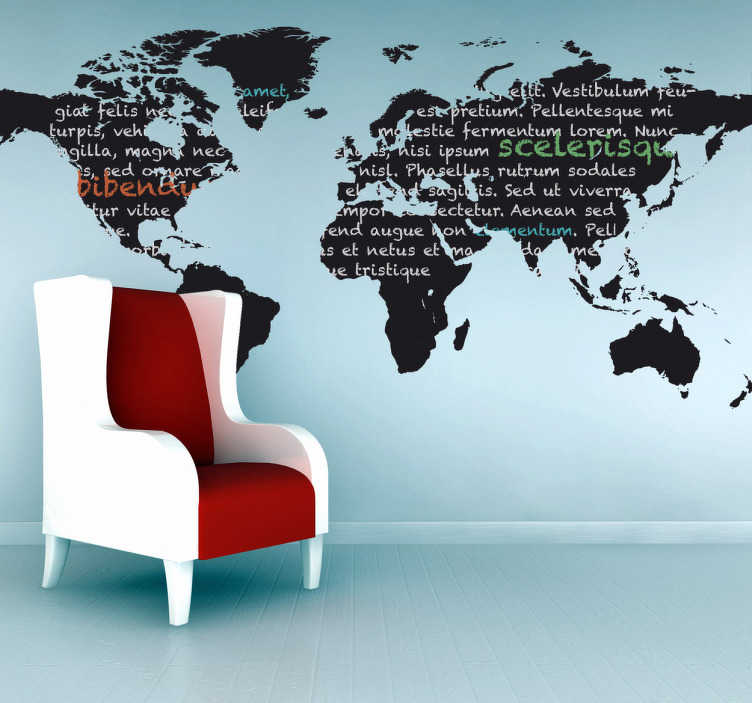 TenStickers. World Map Blackboard Sticker. Blackboard Stickers - Wall sticker of the world map. Perfect for decorating the wall of your living room or bedroom.