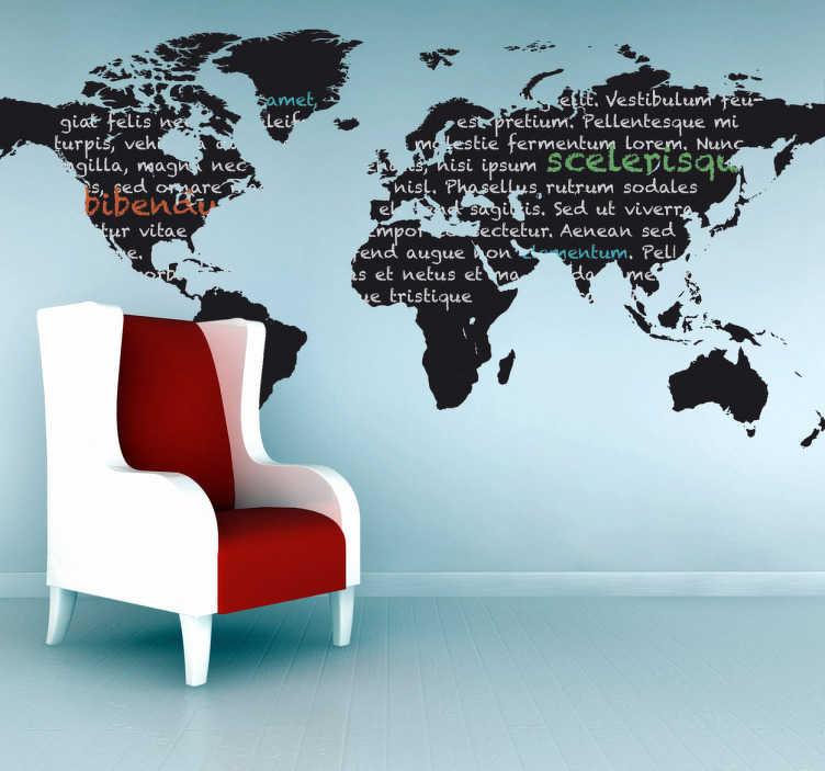 TenVinilo. Vinilo pizarra mapa mundi. Adhesivo de pizarra con el contorno detallista del mapa del mundo. Perfecto para decorar la pared de tu salón o dormitorio y soñar con viajar alrededor del planeta.