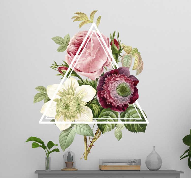 TenStickers. Adesivi murali triangolo fiore camera da letto. Adesivi murali fiori moderni o adesivi murali e adesivi a forma di triangolo floreale, un design moderno e unico per la decorazione della camera da letto!
