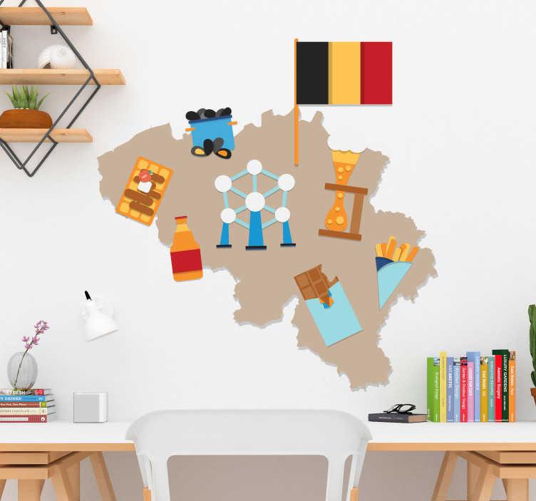TenStickers. Muurstickers tienerkamer Traditioneel Vlaamse kaart. Een originele muursticker Belgie van de Vlaamse kaart sticker! Belgie kaart muursticker is origineel door de Vlaamse kaart muurstickers icons!