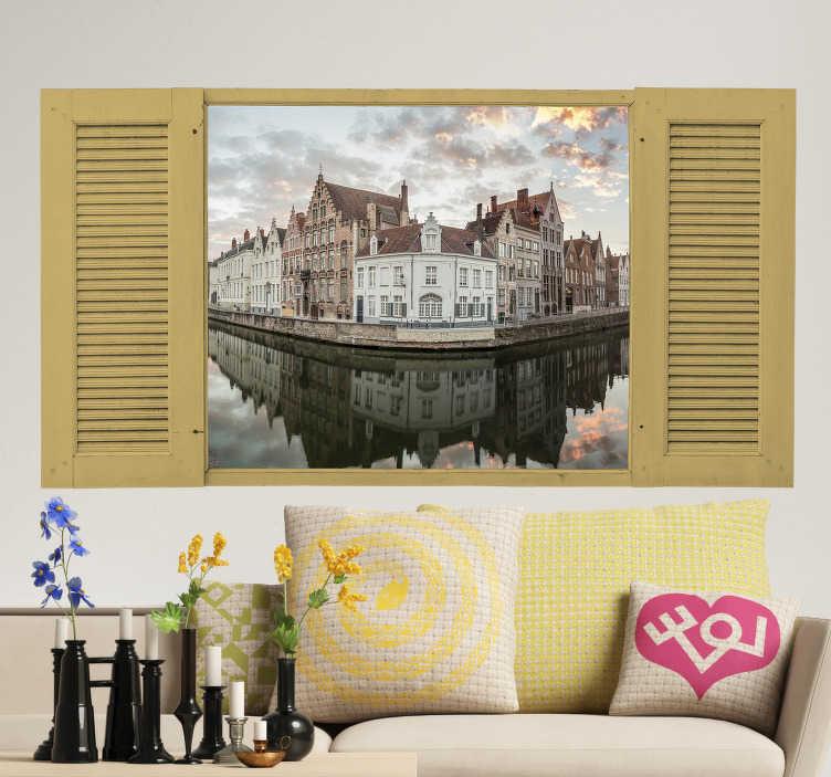 TenStickers. Sticker Maison Photo de Bruges. Si vous n'avez pas l'occasion de visiter Bruges vous pouvez toujours coller ce sticker mural photo pour pouvoir faire illusion !