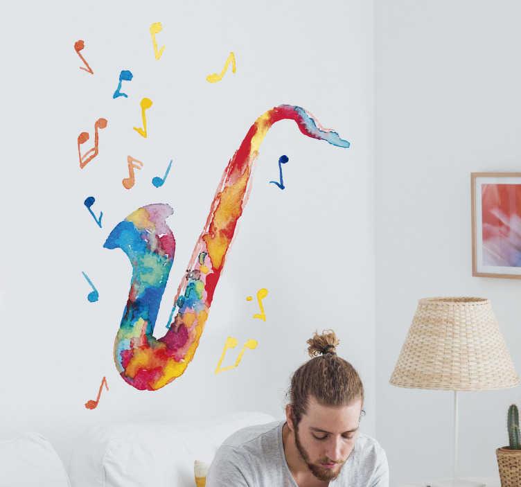 TenStickers. 多彩的小号家居墙贴. 彩色小号墙贴:在你的客厅里用小号贴纸和爵士墙贴和爵士乐贴纸展示屋内的爵士乐!