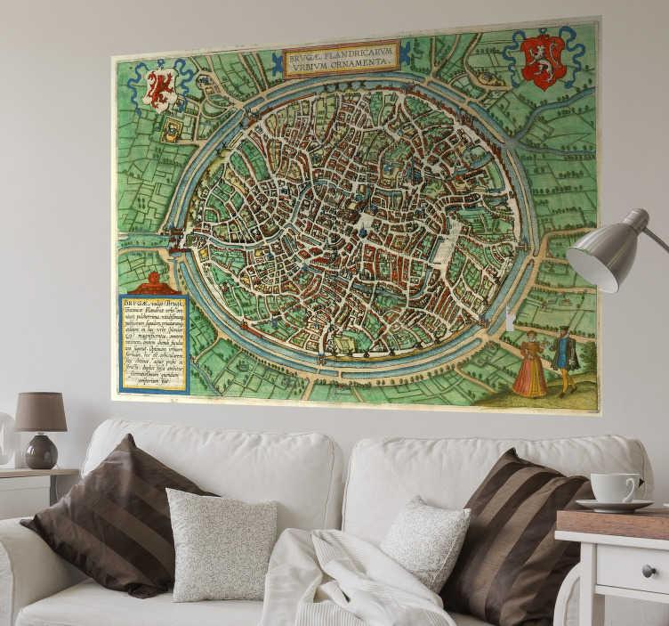 TenStickers. Muurdecoratie stickers Brugge stad kaart. deze Brugge kaart muursticker met alle traditionele straatjes! Muursticker Brugge kaart of Brugge stad muursticker is ideaal voor in de woonkamer!