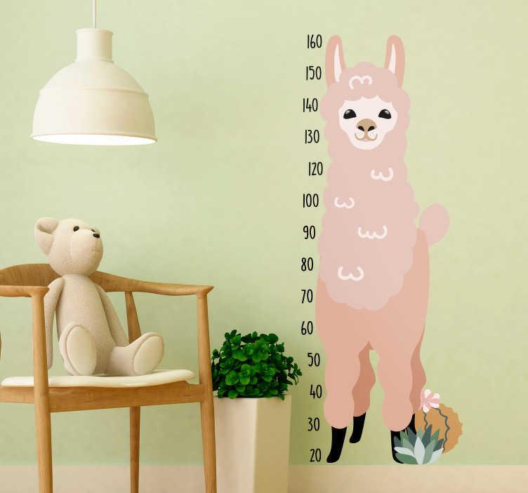 TenStickers. Naklejka z rysunkiem Lama do mierzenia wzrostu. Szukasz ciekawego prezentu dla dziecka?  Wypróbuj nasze naklejki do pokoju dziecięcego w formie miarki wzrostu z lamą! Zamów taniej teraz!