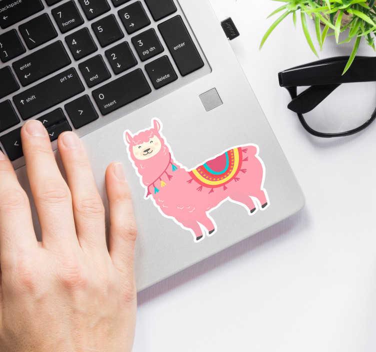 TenVinilo. Vinilo animal llama rosa. Decora tu ordenador con un vistoso y alegre dibujo de una llama de color rosado Pegatina para PC de gran calidad. Fácil aplicación y sin burbujas.