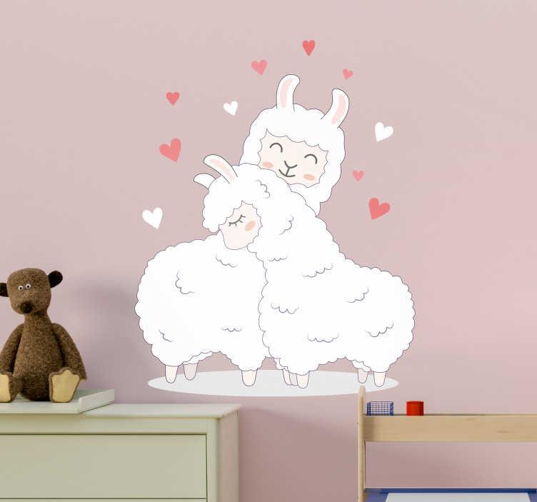 TenStickers. Sticker Chambre Enfant Llamas d'amour. Nous avons de quoi déclarer votre flamme de façon adorable avec ce sticker d'amour de deux llamas fous l'un de l'autre !