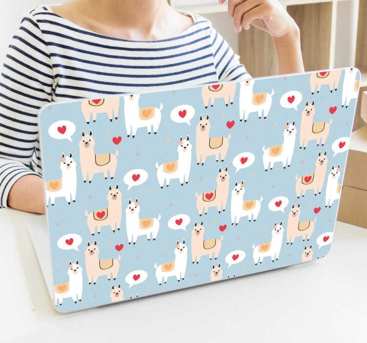 TenStickers. Sticker Animal Llamas amoureux. Un peu de douceur dans ce monde de brutes : ce sticker animal de llamas amoureux décorera à merveille tout type d'appareil (ordi, mac, tablette)