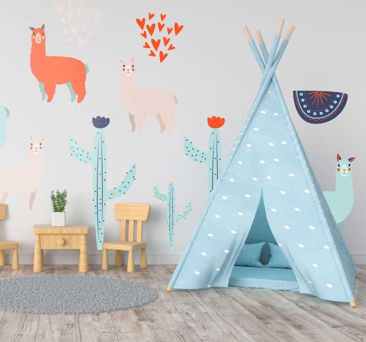TenStickers. Naklejka z rysunkiem Kolorowe lamy i kaktusy. Nie wiesz jak udekorować pokój dla dzieci? Chcesz odświeżyć pokój dziecięcy? Zastosuj naklejki ścienne dziecięce z lamą. Ponad 50 dostępnych kolorów!