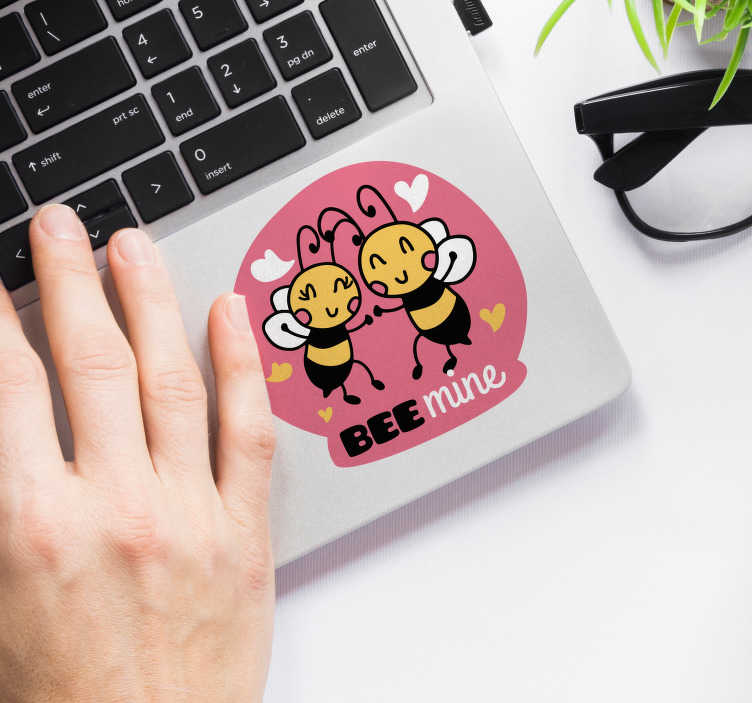 TenStickers. bees laptop skin. Decorative bee insect laptop sticker designed with two cute bees  and text '' bee mine'' to decorate any laptop surface. Easy to apply and adhesive.