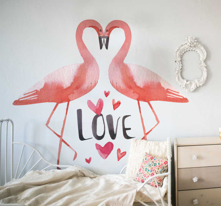 TenStickers. love flamingos bird sticker. Love bird wall art decal made of two flamingos kissing to form a heart shape. Lovely living room and bedroom decoration. Easy to apply and adhesive.