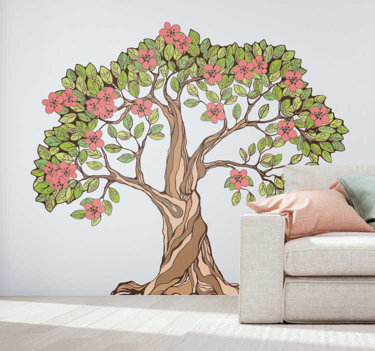 TenStickers. Naklejka z rysunkiem Kwitnące drzewo. Szukasz nieszablonowej dekoracji do salonu? Nasza naklejka na ścianę do salonu drzewo z kwiatami to świetny pomysł na dekorację do pokoju!