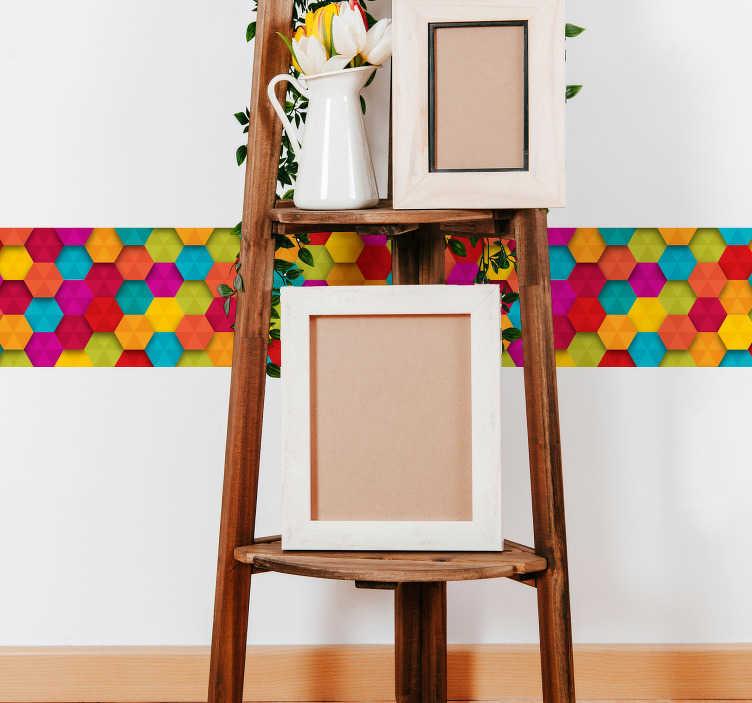 TenStickers. Sticker Carrelage Hexagones Multicolores. Pour un sticker géométrique original, rien de tel que cette frise murale adhésive incroyablement colorée, pour une déco pétillante