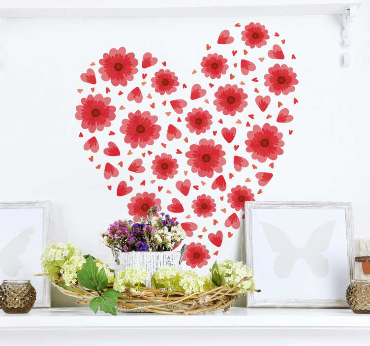 TenStickers. spring heart love wall decal. Spring  wall sticker made with prints of colorful flowers to form heart shape. Available in any desired size and easy to apply.