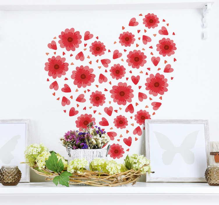 TenStickers. Sticker Amour Coeur Printemps. Représentant un coeur composé d'une myriade de fleurs rouges, ce sticker de dessin est parfait pour l'arrivée des beaux jours... et de l'amour !
