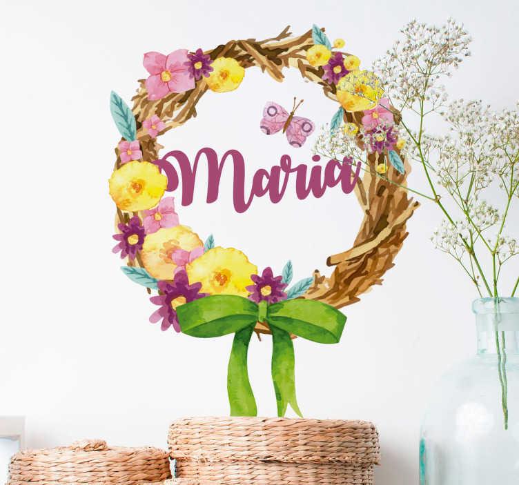 TenStickers. Naklejka z rysunkiem Wianek z imieniem. Szukasz oryginalnych dekoracji do Twojego domu? Spersonalizowane naklejki do pokoju dzieci jako naklejki ścienne kwiaty to świetny pomysł na ozdoby.