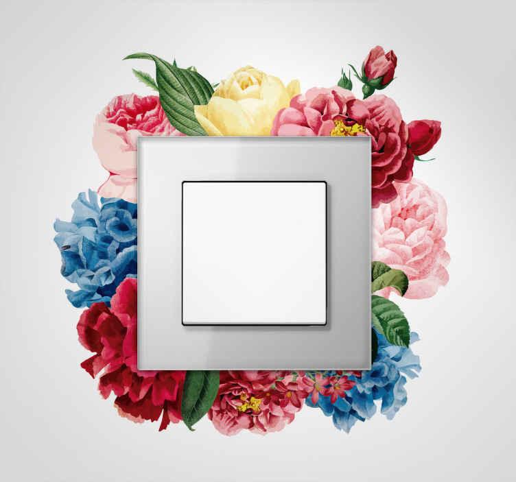 TenVinilo. Vinilo flores de primavera interruptor. Vinilo decorativo interruptores con un un marco de lores con el que podrás darle vida a tu enchufe o la clavija de la luz de tu salón casa.