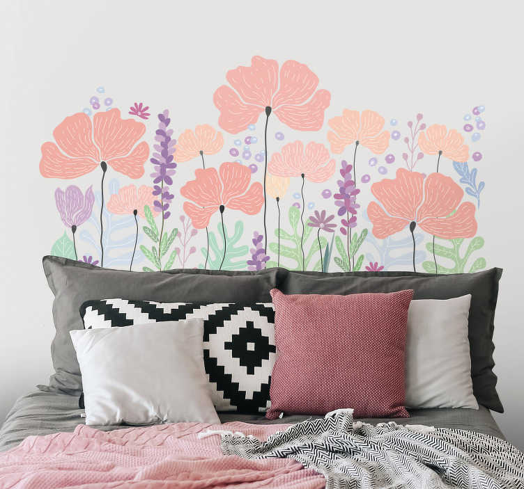 TenStickers. spring flowers flower wall decal. Decorative multicolored spring flower headboard wall sticker to beautify a bedroom. Easy to apply, adhesive and available in any required size.