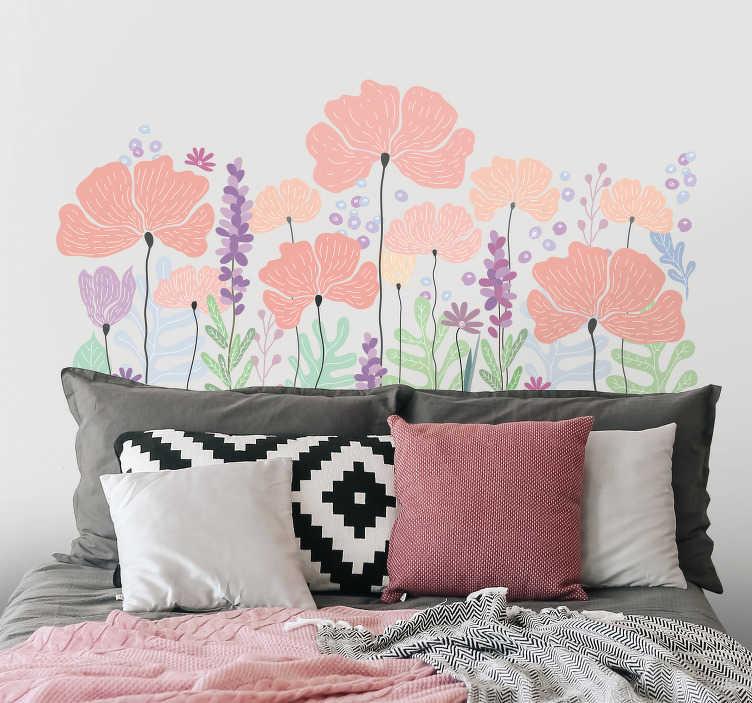 TenStickers. Naklejka z rysunkiem Wiosenne kwiaty. Szukasz niestandardowej dekoracji do sypialni? Nasza naklejka na ścianę do sypialni kwiaty to świetny pomysł na dekorację do sypialni!