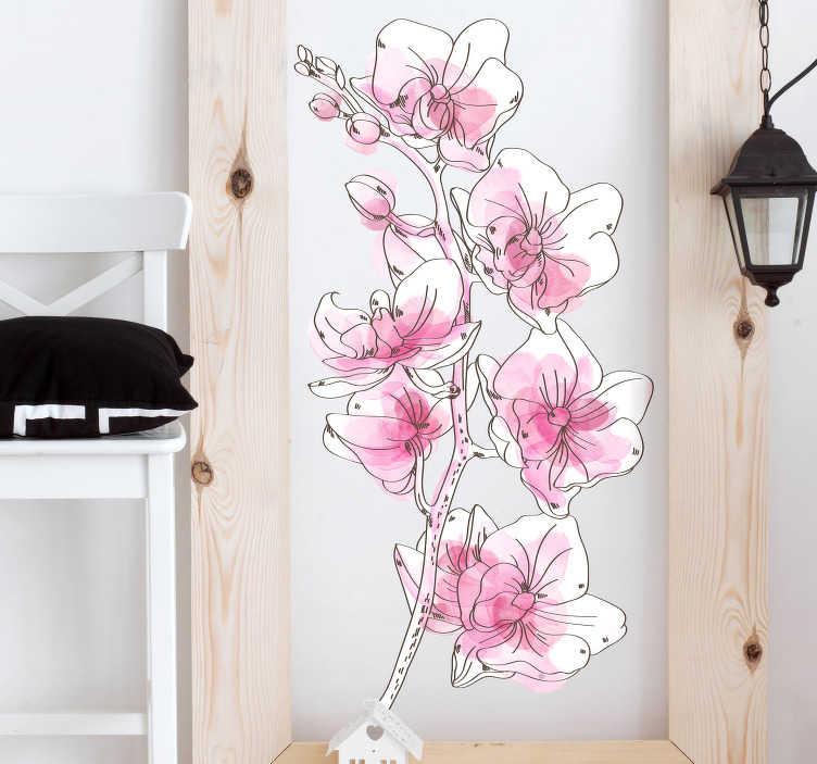 TenStickers. Naklejka z rysunkiem Akwarelowa orchidea. Poszukujesz oryginalnych dekoracji do salonu? Ozdoby na ścianę do salonu jako naklejki ścienne orchidea to świetny pomysł na niezwykłe dekoracje.