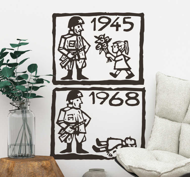 TenStickers. Prague spring wall decal. DecorativePrague spring wall sticker that depicts a political time and event. Easy to apply and available in different colours and sizes.